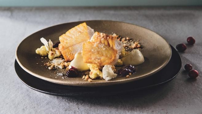 sablefish with cranberry chutney and cauliflower