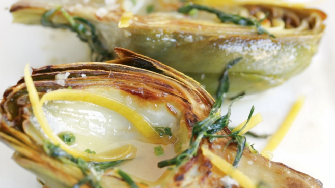Braised Artichokes with Preserved Meyer Lemon, Tarragon and Aioli