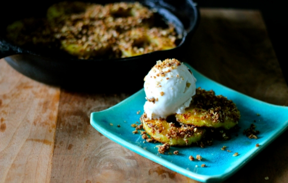 Caramelized Pineapple with Coconut Crumble